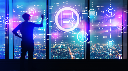 man at window looking over neon lit city working with standard rule files
