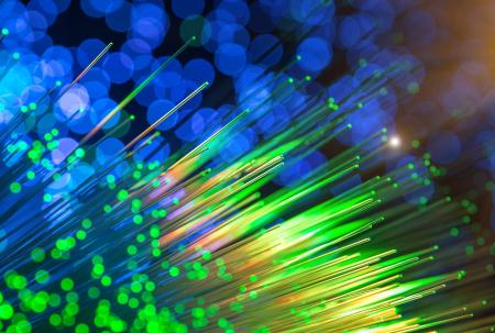 brightly colour fibre optic cables